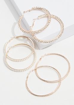 3-Pack Rose Gold Pearl Hoop Earring Set