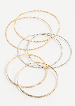 3-Pack Mixed Metal Twisted Oversized Hoop Earring Set