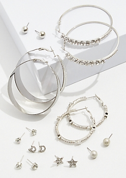 9-Pack Silver Star Hoop Earrings Set