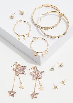 6-Pack Gold Glitter Star Earring Set