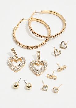 6-Pack Gold Gem Infinity Earring Set
