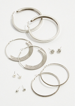 6-Pack Gem Cluster Coil Hoop Earrings Set