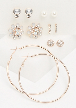 6-Pack Rose Gold Stone Flower Stud & Hoop Earrings