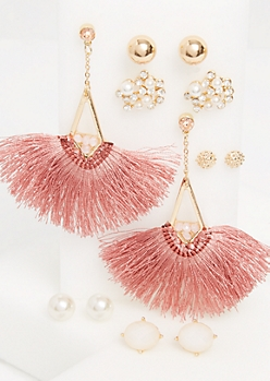 6-Pack Gold Pearl & Tassel Stud Earrings