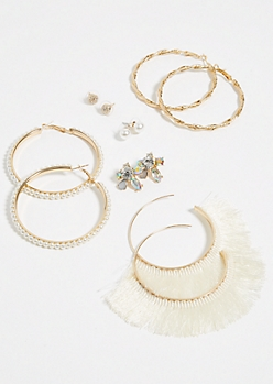 6-Pack Gold Fringe & Pearl Stud & Hoop Earrings