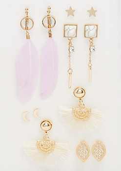 6-Pack Gold Feather & Moon Stud Earrings