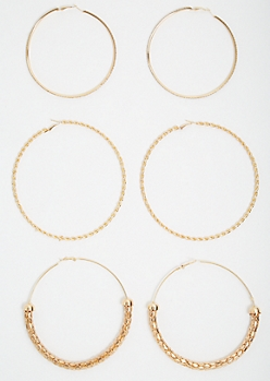 3-Pack Gold Twisted Oversized Hoop Earring Set