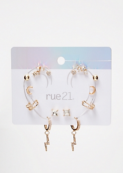Gold Lightning Bolt Ear Cuff Set