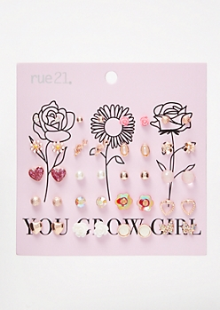 20-Pack Rose Gold Glow Up Earring Set