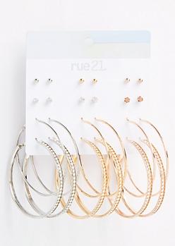 12-Pack Mixed Metal Stud Gemstone Hoop Earring Set
