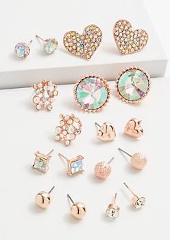 9-Pack Rose Gold Heart Stud Earring Set