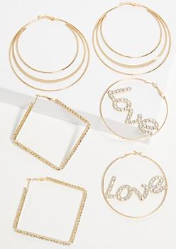3-Pack Gold Love Hoop Earring Set