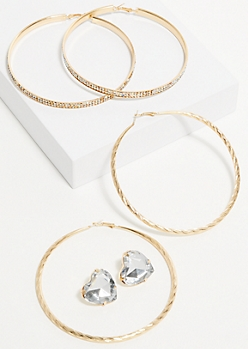 3-Pack Gold Heart Hoop and Stud Earring Set