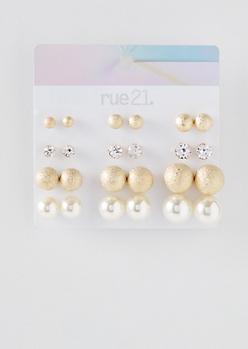 12-Pack Gold Pearl Stud Earring Set