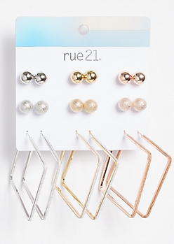 9-Pack Mixed Metal Matching Square Earring Set