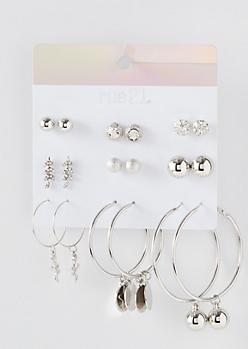 9-Pack Silver Pearl Charm Dangle Earring Set