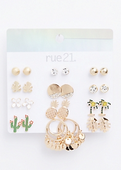 12-Pack Gold Tropical Stud Earring Set