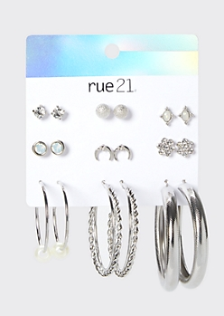 9-Pack Silver Faux Pearl Earring Set