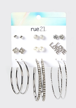 9-Pack Silver Rhinestone Love Earring Set