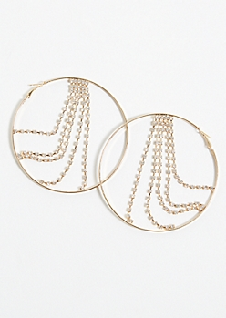 Gold Gem Chain Hoop Earrings