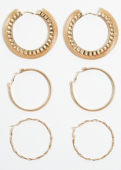 3-Pack Gold Mesh Hoop Earring Set