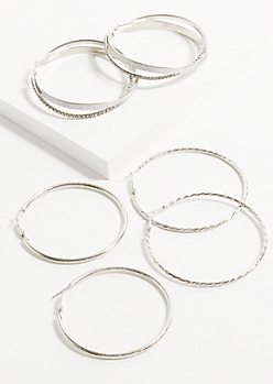 3-Pack Rose Silver Glitter Gem Hoop Earring Set