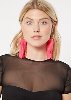 Neon Pink Fringe Drop Earrings