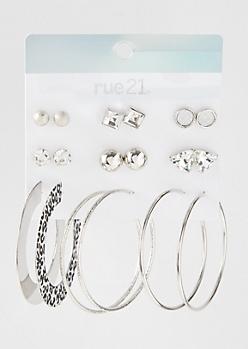 9-Pack Silver Leopard Print Hoop Earring Set