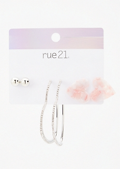 3-Pack Silver Marble Heart Earring Set