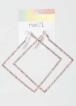 Rose Gold Iridescent Square Hoops