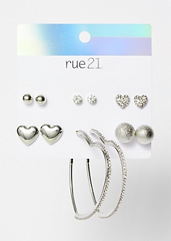 6-Pack Silver Heart Bling Earrings