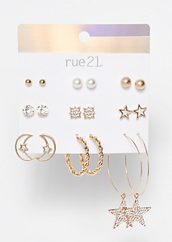 9-Pack Gold Celestial Earrings
