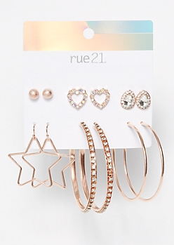 6-Pack Rose Gold Star Bling Earrings