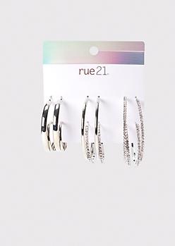 6-Pack Silver Solid And Rhinestone Hoop Earring Set