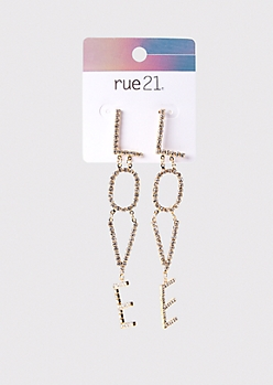 Gold Love Rhinestone Drop Earrings