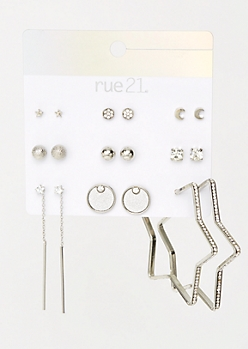 9-Pack Silver Star Sparkle Earring Set