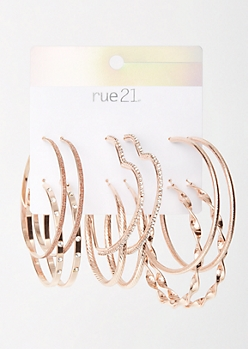 6-Pack Rose Gold Bling Heart Earring Set