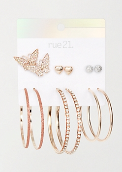 6-Pack Rose Gold Butterfly Bling Earring Set