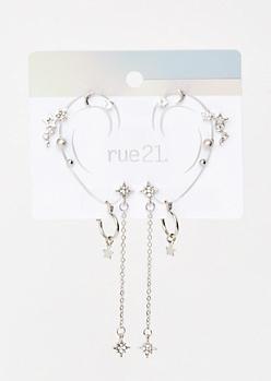 7-Pack Silver Dangly Star Crawler Earring Set