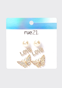 3-Pack Gold Rhinestone Butterfly Earring Set