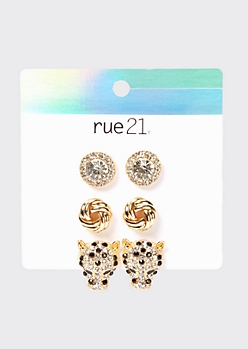 3-Pack Gold Rhinestone Leopard Earring Set