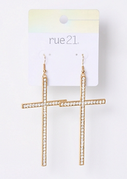 Gold Gemstone Dangle Cross Earrings