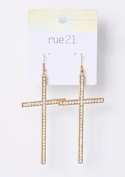 Gold Gemstone Dangle Cross Earrings
