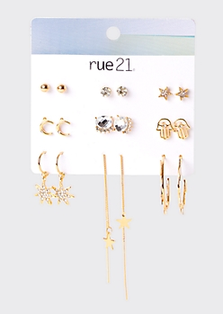 9-Pack Gold Star Drop Earring Set