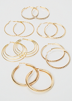 6-Pack Gold Chunky Hoop Earrings