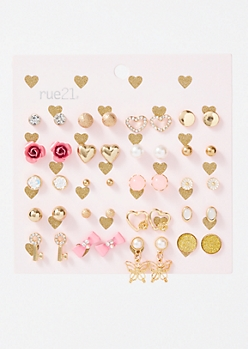 20-Pack Gold Heart Stud Earring Set