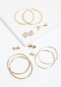 8-Pack Gold Stud and Hoop Earring Set