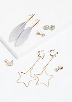 6-Pack Gold Stud and Drop Earring Set