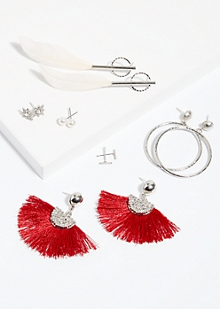 6-Pack Tassel Stud and Drop Earring Set