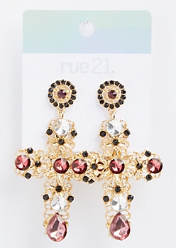 Gold Gemstone Filigree Cross Earrings